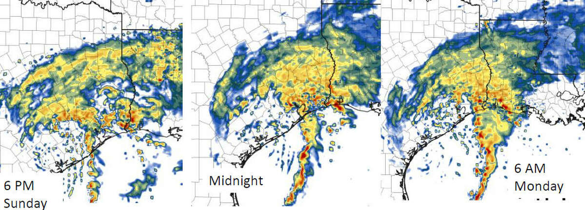 Explained: Maps and charts that show Harvey's potential impact This HRRR map shows the projected radar images of Tropical Storm Harvey through 6 am Monday. This image was released by the National Weather Service as part of the 4 pm update on Tropical Storm Harvey, Sunday, Aug. 27, 2017. See the National Weather Service's most recent forecast for Tropical Storm Harvey.