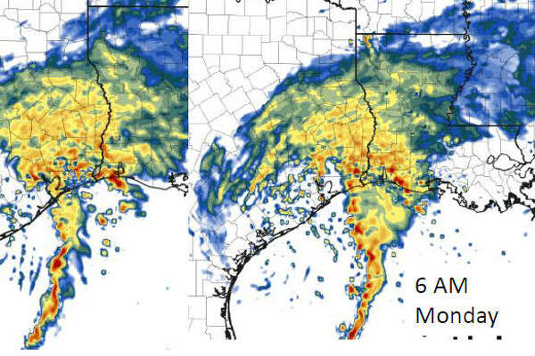 This HRRR map shows the projected radar images of Tropical Storm Harvey through 6 am Monday. This image was released by the National Weather Service as part of the 4 pm update on Tropical Storm Harvey, Sunday, Aug. 27, 2017.
