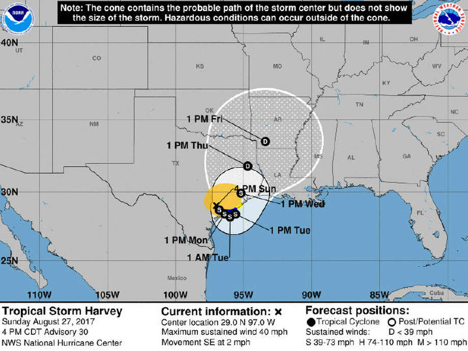 This map shows the forecast track for Tropical Storm Harvey through Friday morning. This image was released by the National Weather Service as part of the 4 pm update on Tropical Storm Harvey, Sunday, Aug. 27, 2017. Photo: National Weather Service
