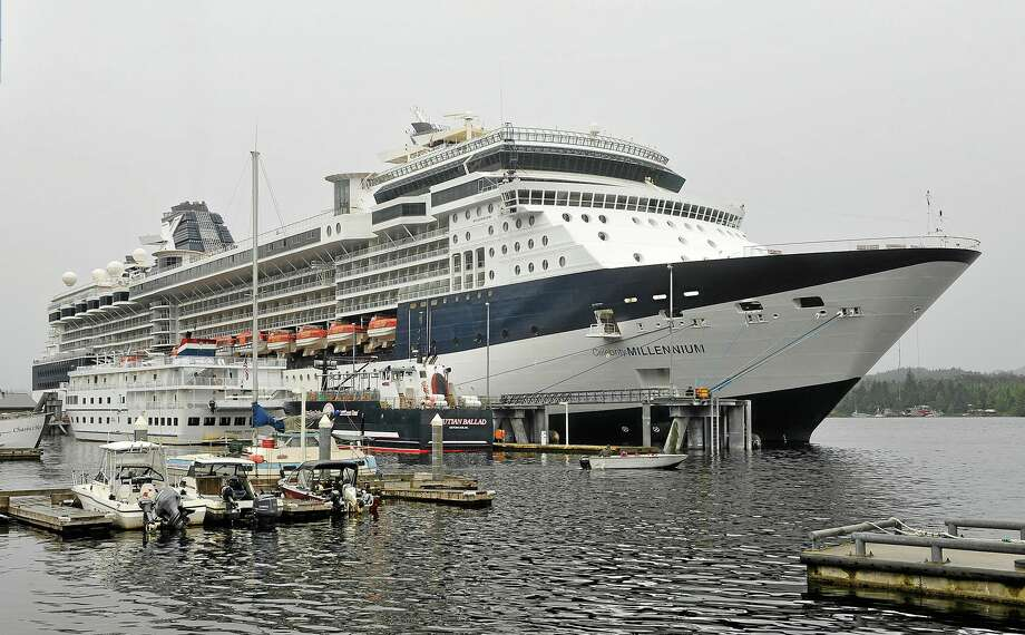 The Celebrity cruises ship Millennium is tied up at the Berth 3 dock, Wednesday, Aug. 21, 2013 in Ketchikan, Alaska. The Millennium, the Celebrity Cruises ship that returned to Ketchikan, Alaska, after experiencing mechanical issues last weekend will remain there at least until Thursday, a spokeswoman said Wednesday. (AP Photo/Ketchikan Daily News, Hall Anderson) Photo: AP / Ketchikan Daily News