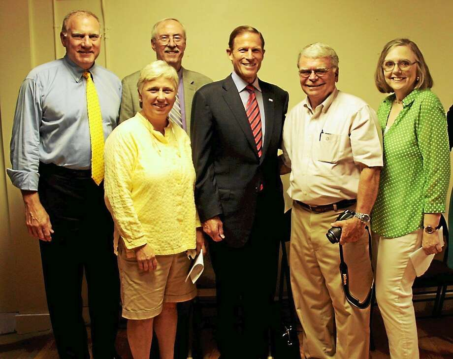 (From left) State Attorney General George Jepsen, Candy Perez, Steve Sedlack, U.S. Sen. Richard Blumenthal, George Closson, and Virginia Charette. Photo: Contributed Photo