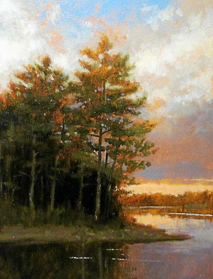 """Image courtesy of the artist """"Evening at State Line Pond"""" by Paul Batch. Photo: Journal Register Co."""