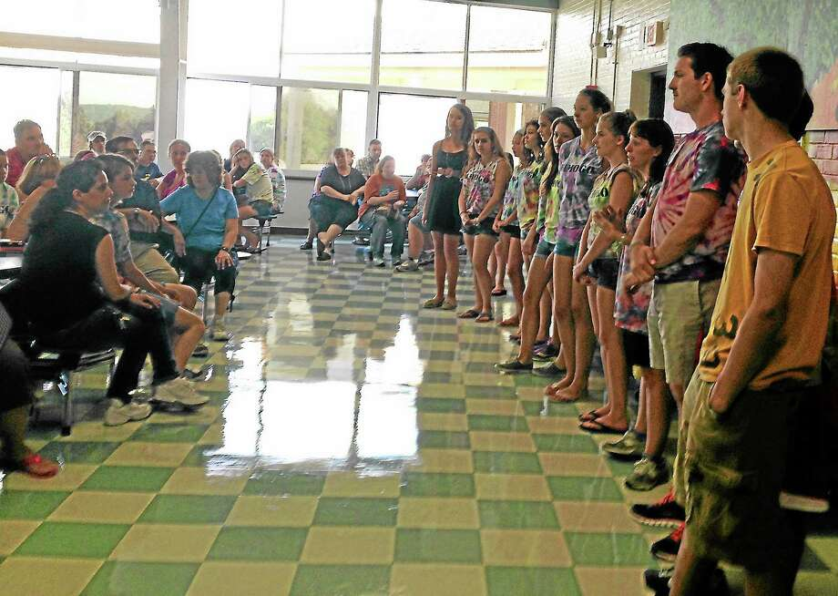 The Peer Leaders from Wamogo's FroshFest lined up to introduce themselves during the orientation dinner. Photo: Ryan Flynn—Register Citizen