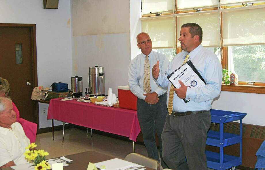Photo courtesy of House Republicans Rep. Jay Case, right, speaks during his visit to Winsted Monday. To his left is Sen. Clark Chapin, R-30th, of New Milford. Photo: Journal Register Co.
