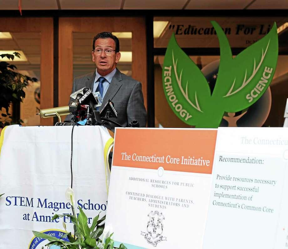Gov. Dannel P. Malloy speaks on Common Core education standards in June. Photo: Christine Stuart — CTNewsJunkie.com