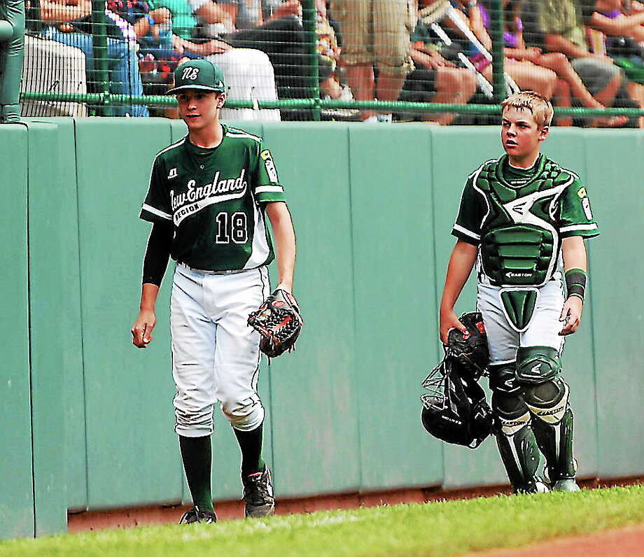 Westport's Matt Stone and pitcher Harry Azadian walk together before the start of Sunday Little League World Series game. Westport will look to go 3-0 on Wednesday as they face Chula Vista, Calif. at 8 p.m. on ESPN. Photo: Journal Register Co.