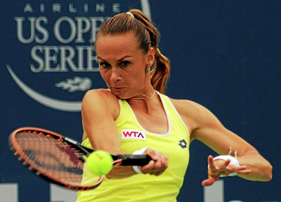 Magdalena Rybarikova advanced to her first premier event final with a 6-2, 6-4 win over Camila Giorgi in the semifinals of the Connecticut Open on Friday in New Haven. Photo: Bob Child — For The Register  / New Haven Register