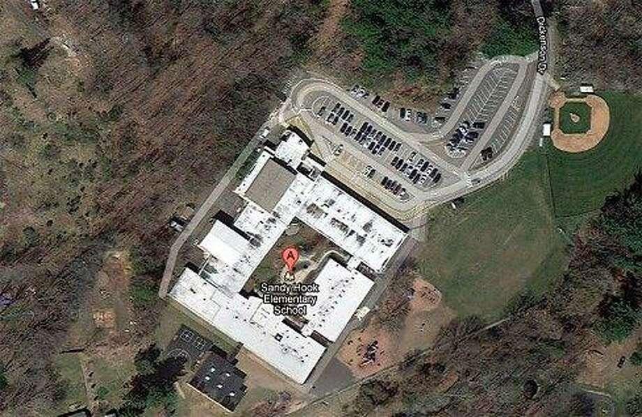 Aerial view of Sandy Hook Elementary School in Newtown