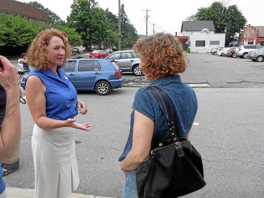 Democratic candidate for the 5th District, Rep. Elizabeth Esty, stopped by the Torrington Armory in 2012 to meet and thank voters for coming out to engage in their civic duty. Esty is one of three Democrats in the primary, which is expected to be very close. Photo: File Photo