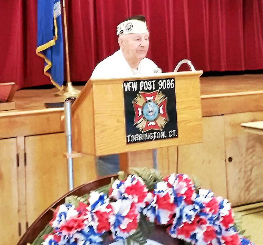 World War II veteran and Pearl Harbor survivor Isadore Tadiello, 93, of North Canaan speaks at the Pearl Harbor Day observance ceremony. Photo: N.F. Ambery — For The Register Citizen