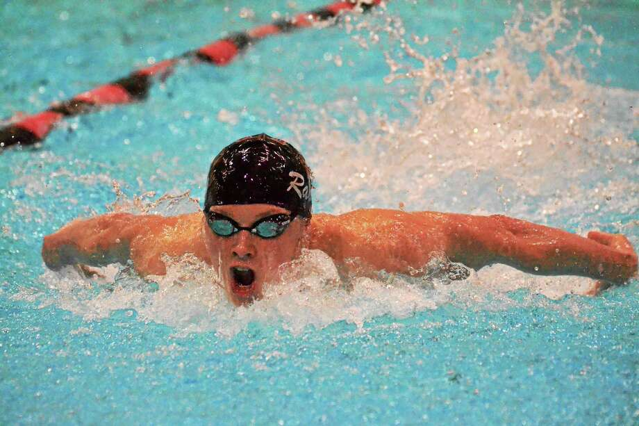 Torrington's Matt Traub during the 200 IM which he won with a time of 1:54.26. Photo: Pete Paguaga — Register Citizen