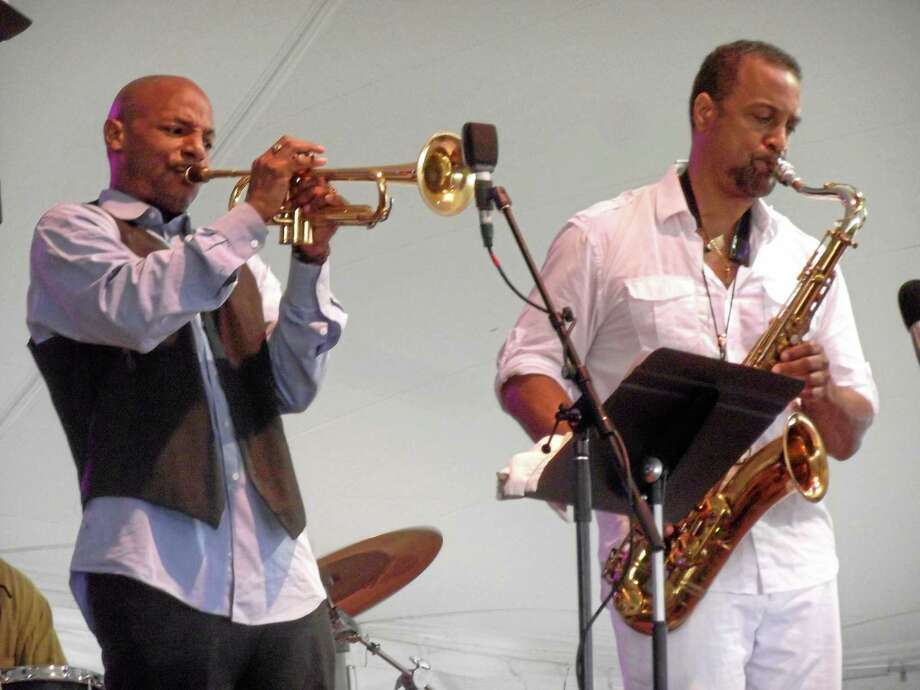 Duane Eubanks and Craig Handy play on the Litchfield Jazz Festival's main stage during the 2012 jazz festival. Photo: Register Citizen File Photo