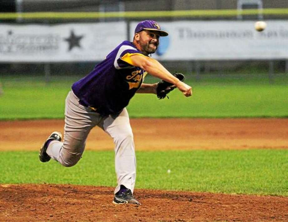 Tri-Town Trojans pitcher Andrew Osolin picked up the victory against the Bristol Greeners. Photo by Marianne Killackey - Special to Register Citizen / 2013