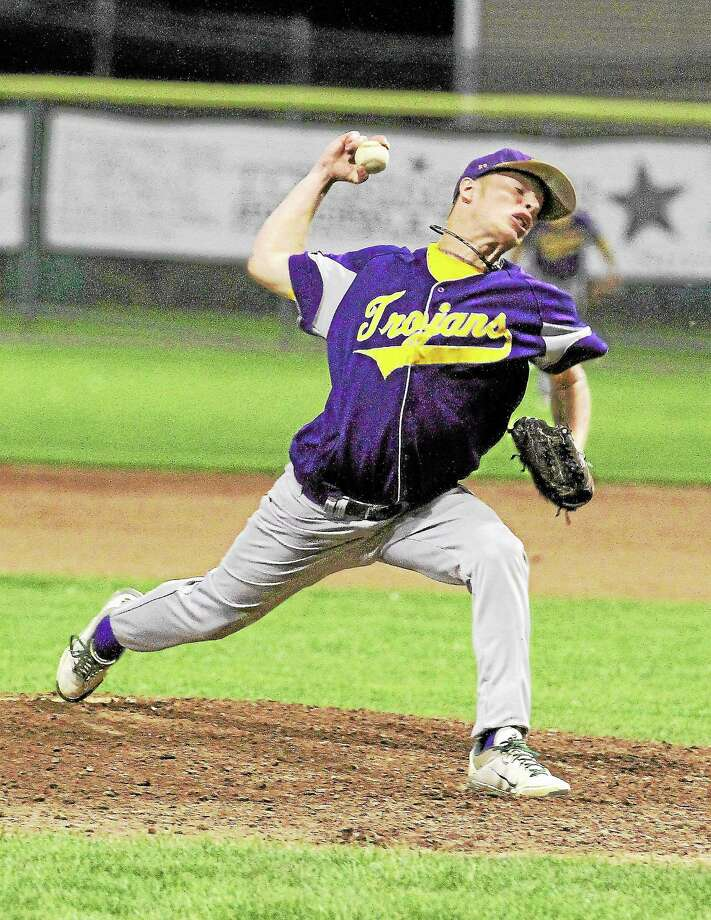 Miles Scriber pitching for the Tri-town Trojans. Photo: Marianne Killackey—Special To The Register Citizen  / 2013