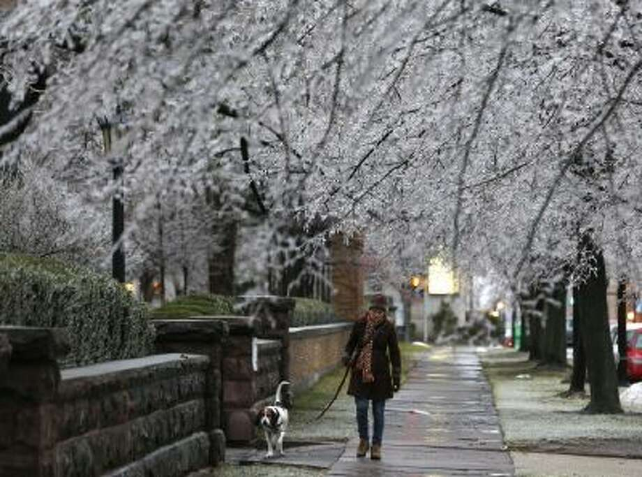 A woman walks her dog beneath ice-covered trees on Sunday, Dec. 22, in Buffalo, NY.