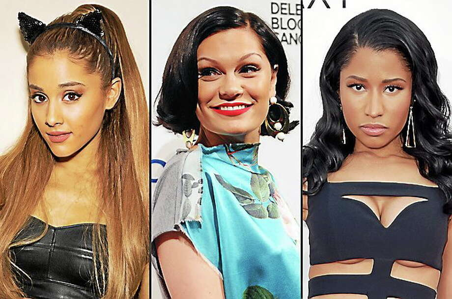 "This combo made from file photos shows, from left, Ariana Grande, Jessie J, and Nicki Minaj. The trio will kick off Sunday's MTV Video Music Awards with their new song ""Bang Bang."" Photo: (Photos By Omar Vega/Evan Agostini/John Shearer/Invision/AP, File) / Invision net"