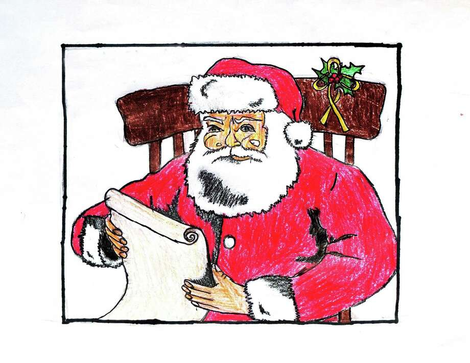 """(Peter Casolino, New Haven Register)   """"Santa checks his list,"""" a drawing by 11-year-old Ryan Casolino . pcasolino@NewHavenRegister Photo: Journal Register Co."""