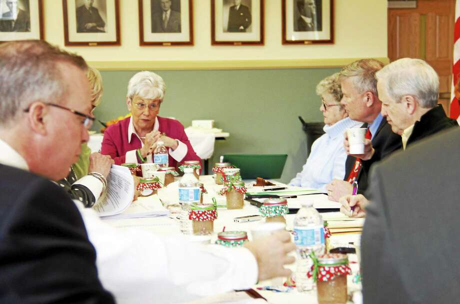 Lt. Gov. Nancy Wyman (center) talks during the Litchfield Hills Council of Elected Officials meeting on Friday at Torrington City Hall. Wyman briefed the local elected officials about the state's local efforts in helping with funding and improving education. Photo: File Photo — Register Citizen