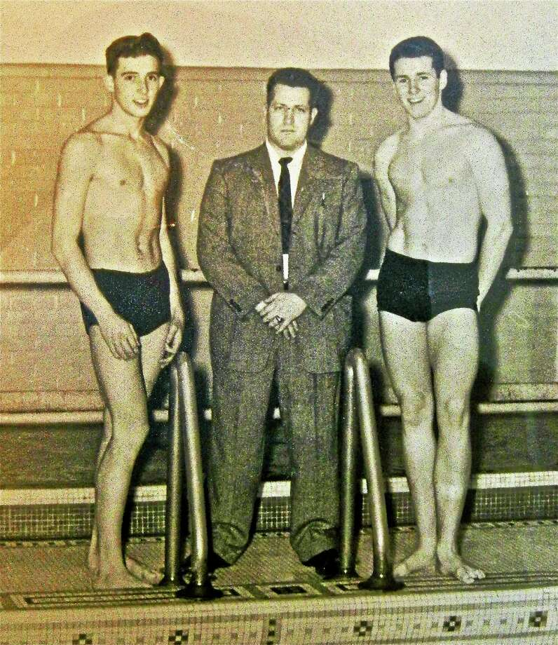 From left to right, Steve Pinney, Coach Charles Duggan, John Murphy were all instramental in starting the Torrington swimming team. Photo: Submitted Photo