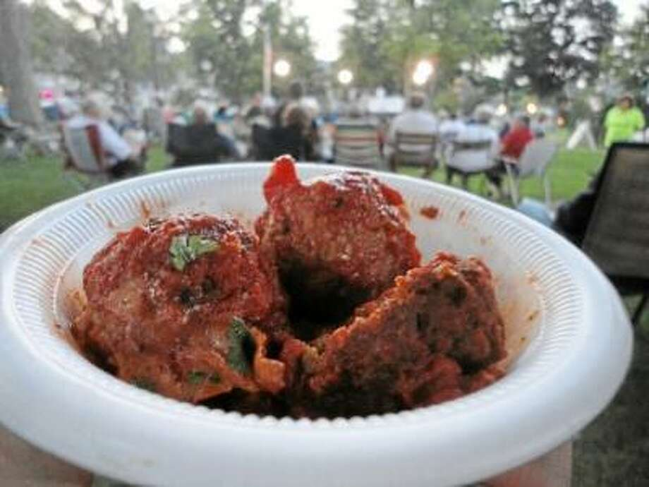 A shot from the 2012 Winsted Meatball Challenge. (Register Citizen File photo)