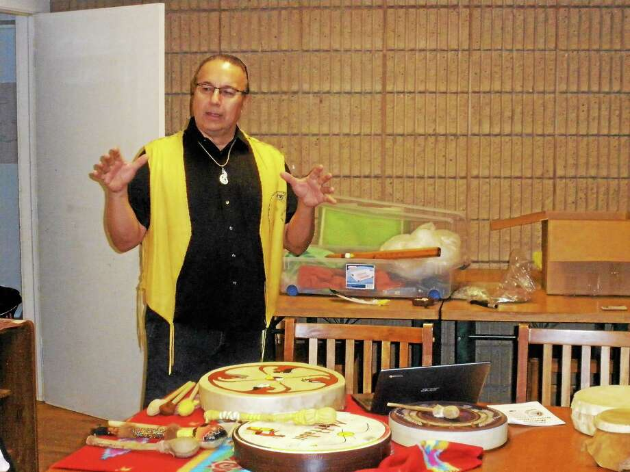Allan Madahbee speaks about the importance of the drum to Native American culture. during an event at the Institute for American Indian Studies in Washington Sunday. Photo: Stephen Underwood — Special To The Register Citizen