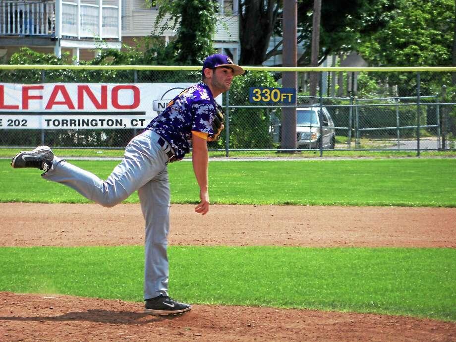 Peter Wallace - Register Citizen Tri-Town pitcher Jordie Scheiner kept Litchfield batters off balance all day with a dancing knuckleball and a great defense. The combination held the Cowboys to five hits in nine innings. Photo: Journal Register Co.