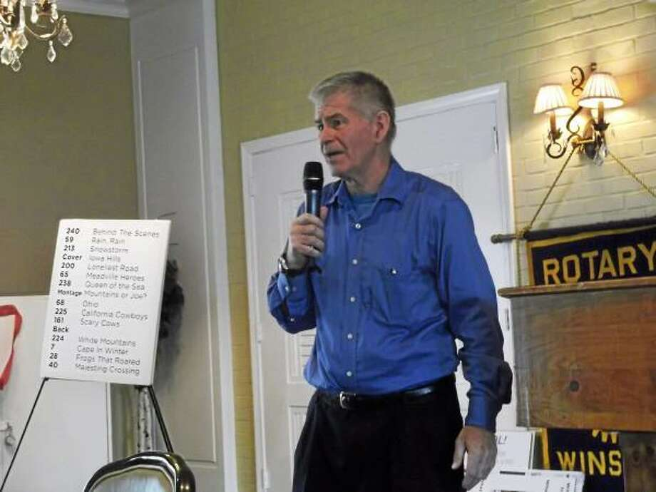 Joe Hurley speaking at Tuesday's meeting of the Torrington Rotary Club about his book, Ten Million Steps. (Jenny Golfin-Register Citizen)