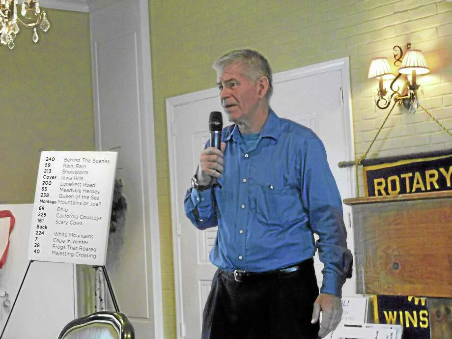 Joe Hurley speaking at Tuesday's meeting of the Torrington Rotary Club about his book, Ten Million Steps. Photo: Jenny Golfin—Register Citizen
