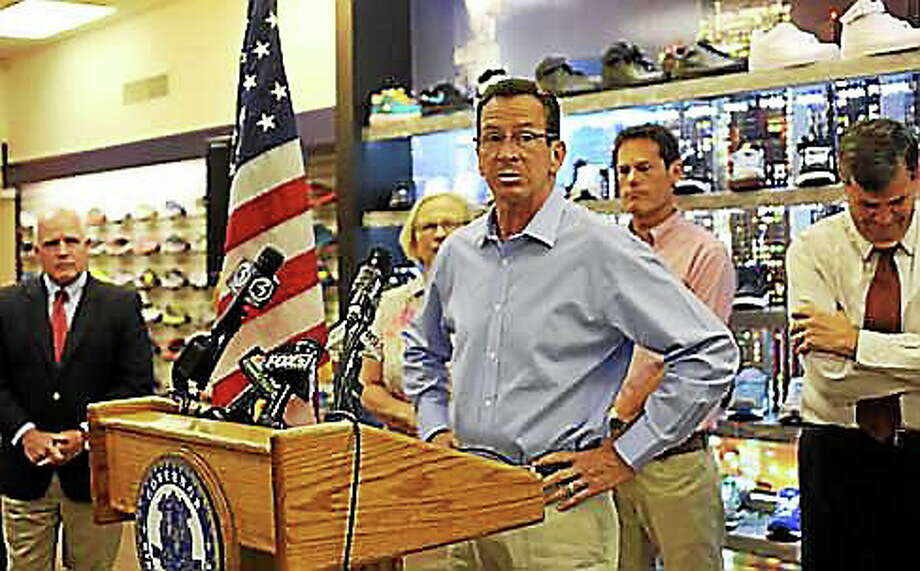 Gov. Dannel P. Malloy at a press conference touting sales tax free week in Connecticut. Photo: Christine Stuart — CTNewsJunkie.com