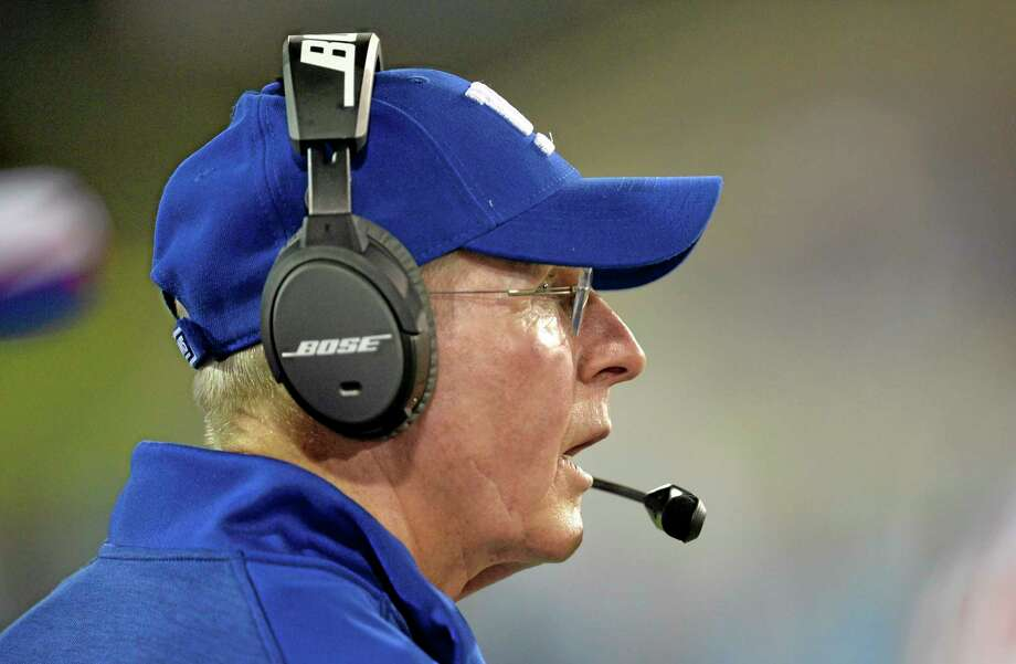New York Giants head coach Tom Coughlin watches in the second quarter of the Pro Football Hall of Fame Game against the Buffalo Bills on Aug. 3 in Canton, Ohio. Photo: David Richard — The Associated Press  / FR25496 AP