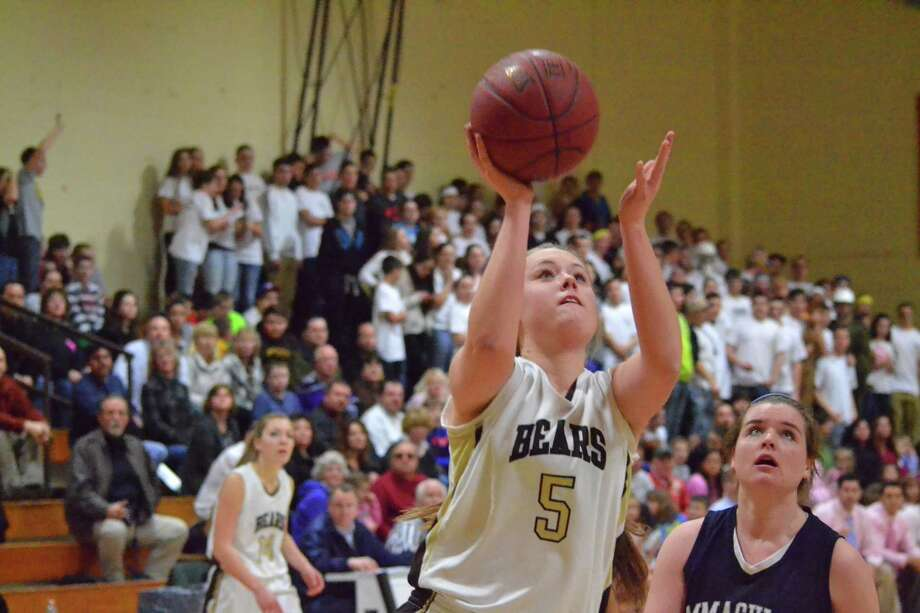 Thomaston's Abby Hurlbert lays in two of her game-high 21 points in the Golden Bears 55-49 win over Immaculate. Photo: Pete Paguaga — Register Citizen