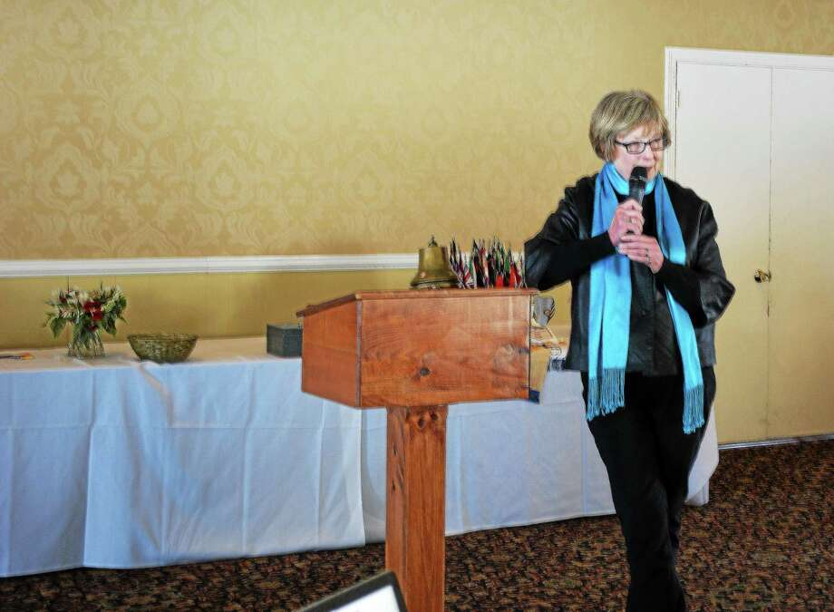 Judith McElhone, executive director of Five Points Gallery in Torrington, speaks at the Torrington Rotary Club meeting. Jenny Golfin - The Register Citizen Photo: Journal Register Co.