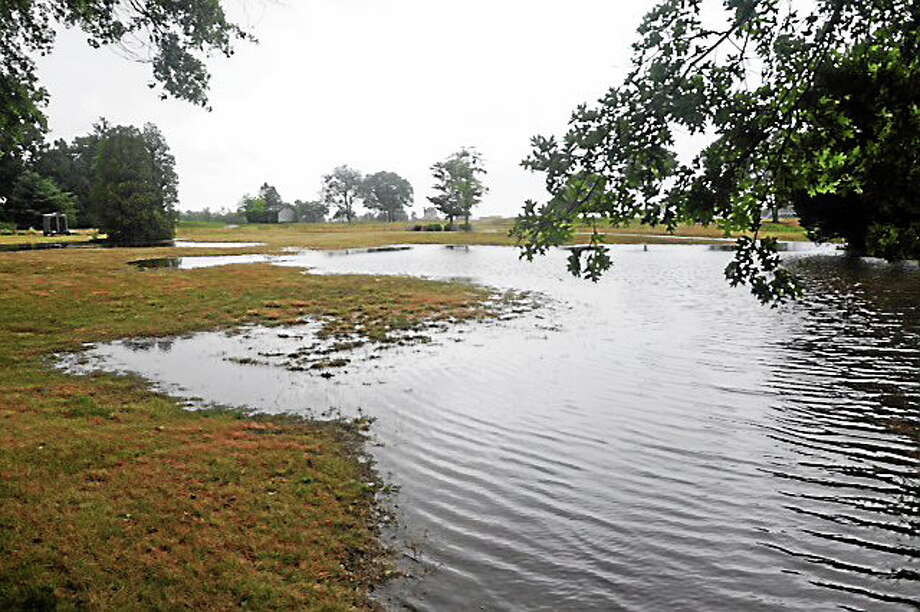 Flooding on the fairways at the Madison country club Wednesday morning. Photo: Mara Lavitt — New Haven Register