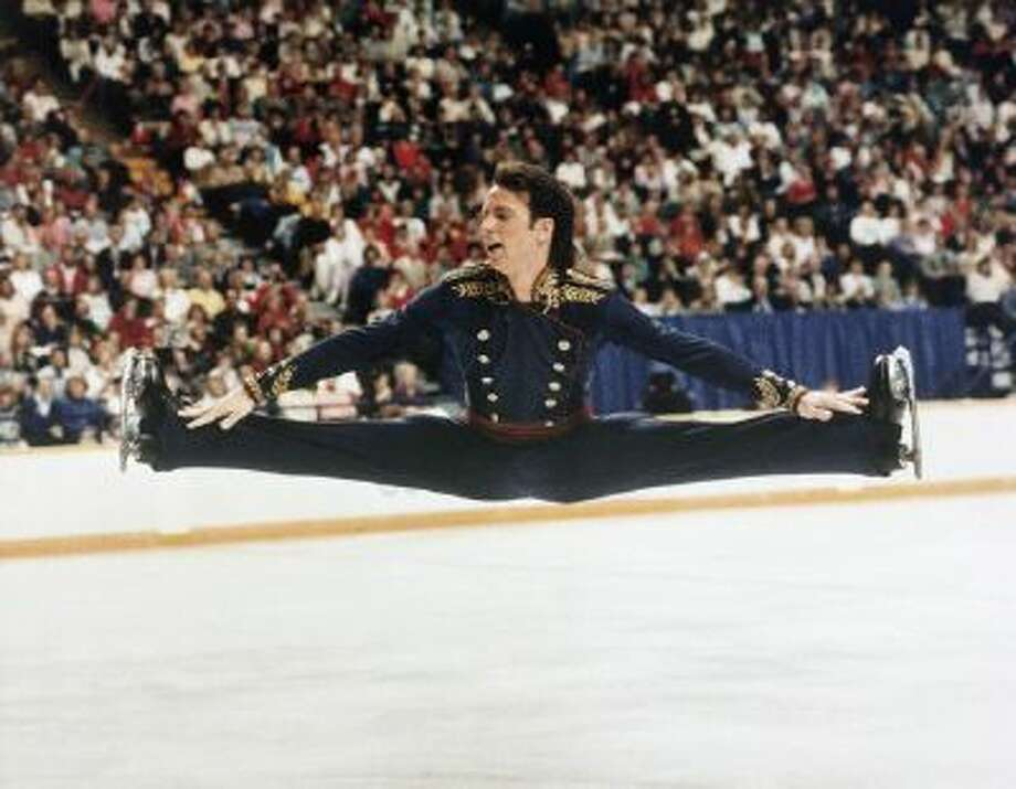 Brian Boitano performs in the 1988 Olympics, where he won a gold medal.