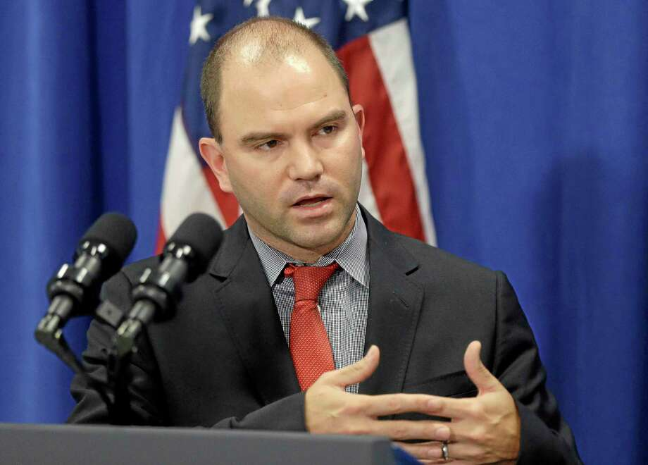 Deputy National Security Adviser for Strategic Communications and Speechwriting, Ben Rhodes, speaks during a news briefing in Edgartown, Mass., on the island of Martha's Vineyard, Wednesday, Aug. 13, 2014. Rhodes discussed the refugee and conflict conditions in Northern Iraq. (AP Photo/Steven Senne) Photo: AP / AP