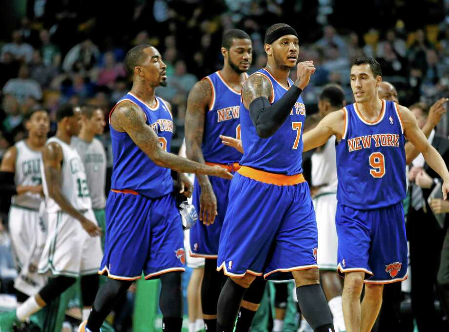 Carmelo Anthony and the New York Knicks crushed the Celtics 116-92 in Boston on Wednesday. Photo: Elise Amendola — The Associated Press  / AP