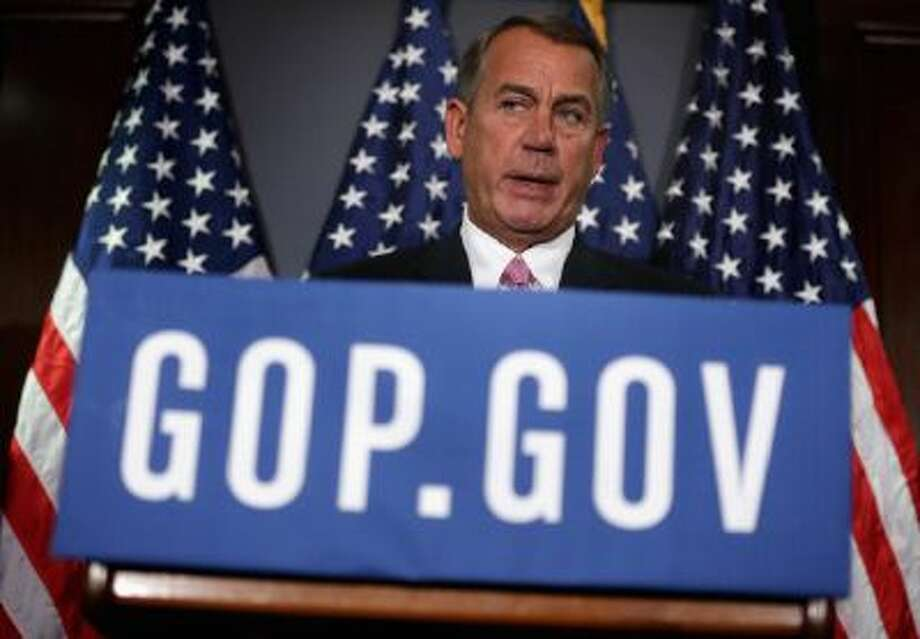 WASHINGTON, DC - MARCH 05:  U.S. Speaker of the House Rep. John Boehner (R-OH) speaks during a briefing March 5, 2014 at the headquarters of the Republican National Committee in Washington, DC. House Republicans briefed members of the media after a closed conference meeting.  (Photo by Alex Wong/Getty Images) Photo: Getty Images / 2014 Getty Images
