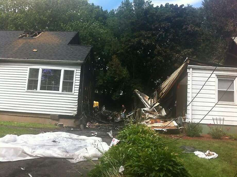 The site of the plane crash on Charter Oak Avenue in East Haven. Mark Zaretsky/Register