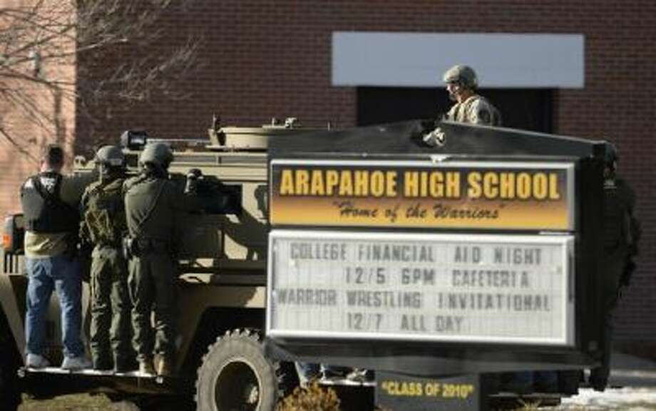A gunman opened fire at Arapahoe High School in Centennial, Colo., on Dec. 13, 2013.