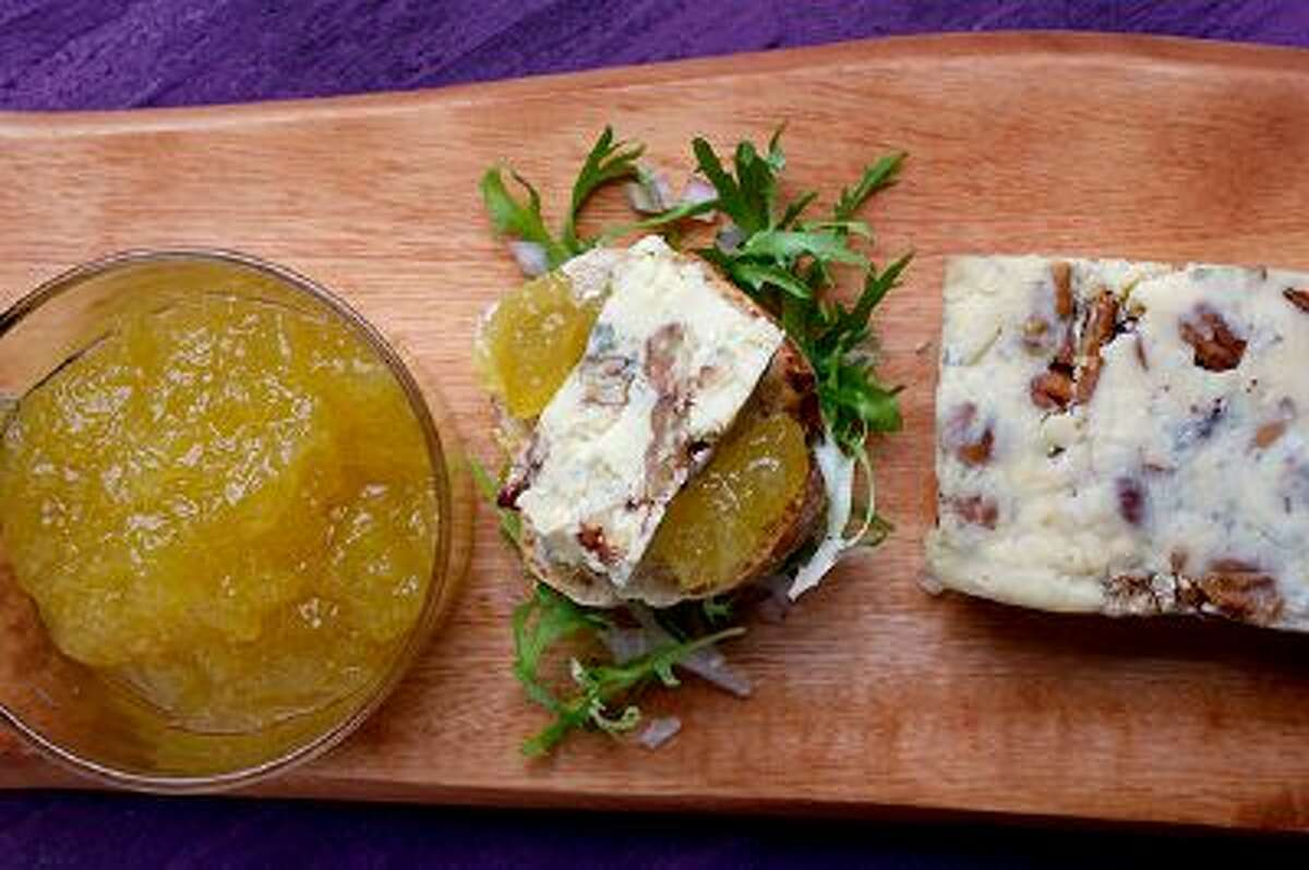 Cashel Blue and Toasted Pecan Terrine With Apple Jam has a balance of saltiness and tang. Illustrates FOOD-IRISH (category d), by Bonnie Benwick 2014 The Washington Post. Moved Tuesday, March 11, 2014. (MUST CREDIT: Photo for The Washington Post by Deb Lindsey)