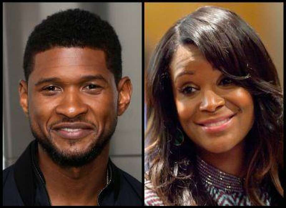 In this photo combo, R&B singer Usher, left, poses for a picture after a ceremonial lighting of the Empire State Building in New York, Wednesday, July 3, 2013; and at right, Usher's ex-wife Tameka Foster Raymond looks on during a recess in court for a custody fight involving their two sons Tuesday, May 22, 2012, in Atlanta. Photo: AP / AP