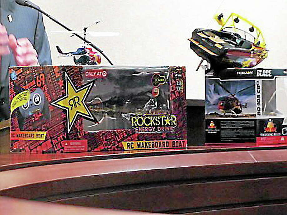 Toys with energy drink logos. Hugh McQuaid/CT NewsJunkie Photo: Journal Register Co.