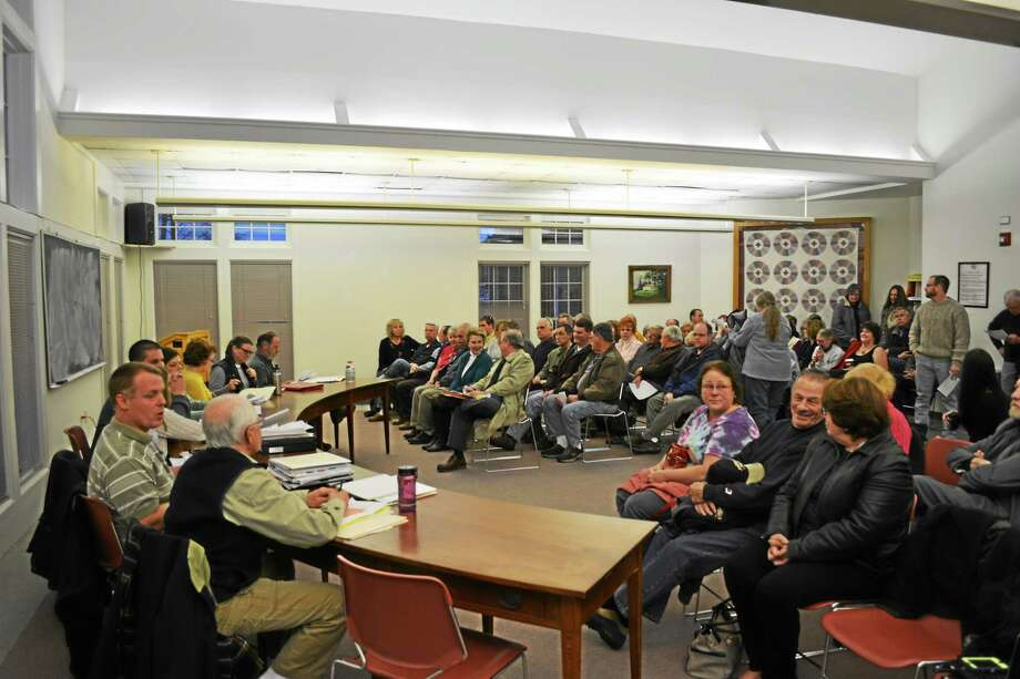 The zoning meeting was well-attended, with some residents unable to find a seat. Photo: Ryan Flynn — Register Citizen
