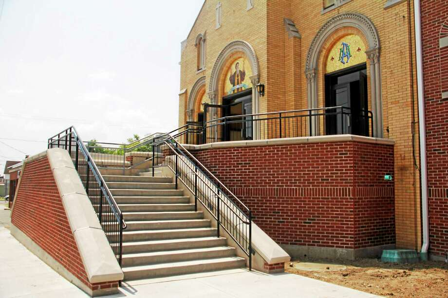Outside St. Maron's Church on Main Street Thursday in Torrington. The staircase is one of the new additions to the building as part of a $1.4 million renovation project. Photo: Esteban L. Hernandez — The Register Citizen