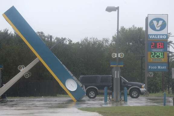 This Valero gas station in Sutherland Springs, Texas east of San Antonio is damaged after hurricane Harvey swept through the area Sunday August 27, 2017.