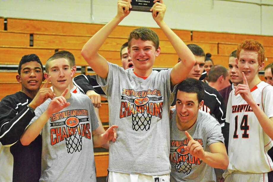 Pete Paguaga Register Citizen Terryville's, from left to right, Ariel Batista, Tyler Trillo, Zach Graham, Ian Schmidt and Shea Tracy celebrate after winning the Berkshire League Tournament. Photo: Journal Register Co.