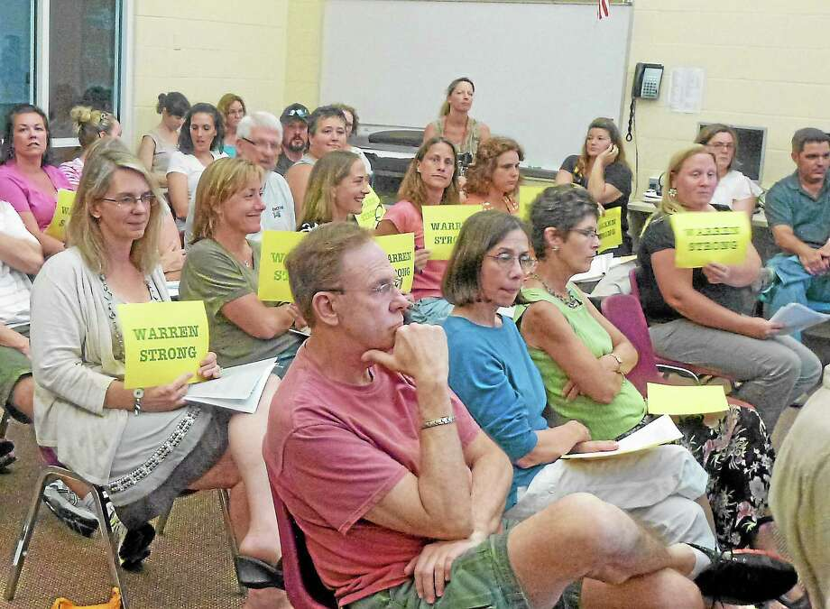 A crowd of parents attend a Region 6 schools meeting in July to address concerns over a blended classroom at Warren School in the fall. Photo: Register Citizen File Photo