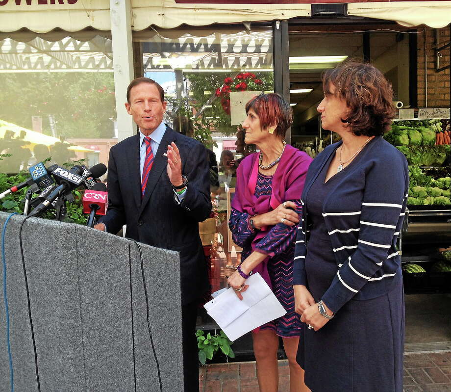 U.S. Sen. Richard Blumenthal, D-Conn., U.S. Rep. Rosa DeLauro, D-3, and Marlene Schwartz, director of the Yale Rudd Center for Food Policy and Obesity, speak on their proposals for the FDA's proposed new nutrition labels. Photo: Kristin Stoller - New Haven Register