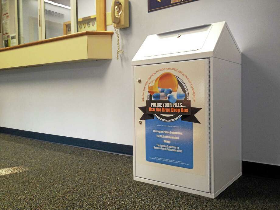 A prescription drug drop box located in the lobby of the Torrington Police Department. Esteban L. Hernandez - The Register Citizen Photo: Journal Register Co.