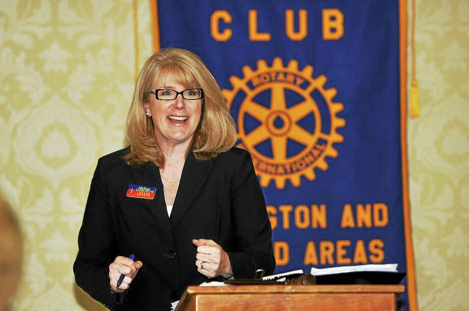 Laurie Gaboardi - The Register Citizen Melissa Osborne, a Democrat seeking the state's 8th Senate District seat held by Sen. Kevin Witkos, speaks to the Torrington-Winsted Rotary Club Tuesday. Photo: Journal Register Co.